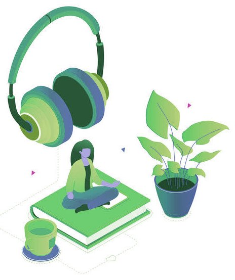 Listening to music - modern colorful isometric vector illustration